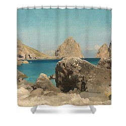 Rocks Of The Sirens Shower Curtain by Frederic Leighton