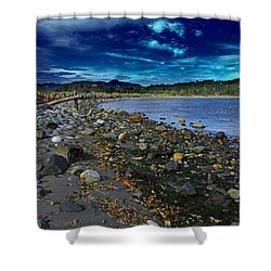 Rocky Beach In Western Canada Shower Curtain by Louise Heusinkveld