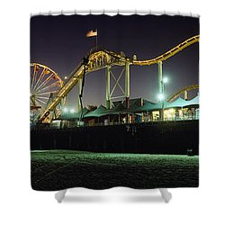 Rollercoaster And Ferris Wheel At Dusk Shower Curtain by Axiom Photographic