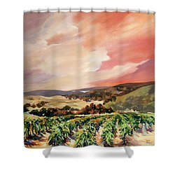 Shower Curtain featuring the painting Rolling Vineyards 2 by Rae Andrews