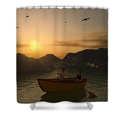 Romance On The Lake Shower Curtain