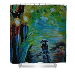 Shower Curtain featuring the painting Romantic Stroll Series 1 by Leslie Allen