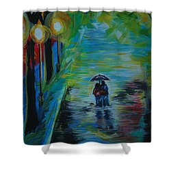 Shower Curtain featuring the painting Romantic Stroll Series II by Leslie Allen