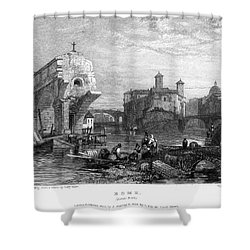 Rome: Ponte Rotto, 1833 Shower Curtain by Granger