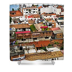 Rooftops In Puerto Vallarta Mexico Shower Curtain by Elena Elisseeva