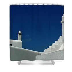 Rooftops Of Mykonos Shower Curtain by Vivian Christopher
