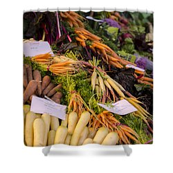 Root Vegetables At The Market Shower Curtain by Heather Applegate