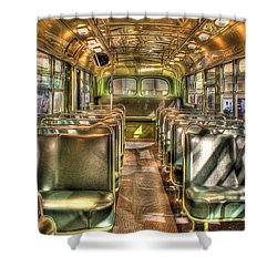 Rosa Parks Bus Inside Dearborn Mi Shower Curtain by Nicholas  Grunas