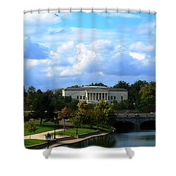 Shower Curtain featuring the photograph Rose Garden And Hoyt Lake by Michael Frank Jr