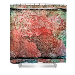 Rose Outline Abstract Shower Curtain by Debbie Portwood