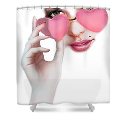 Rose Tinted Love Variant 1 Shower Curtain by Andrew Farley