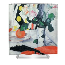 Roses In A Chinese Vase With Black Fan Shower Curtain by Samuel John Peploe
