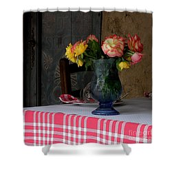 Roses In Blue Glass Vase Shower Curtain by Lainie Wrightson