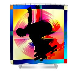 Round Peg In Square Hole Skateboarder Shower Curtain by Elaine Plesser