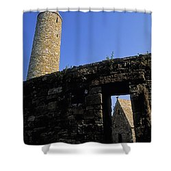 Round Tower And Chapel, Ulster History Shower Curtain by The Irish Image Collection