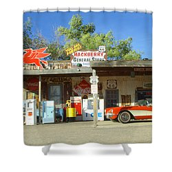 Route 66 Hackberry Arizona Shower Curtain by Bob Christopher