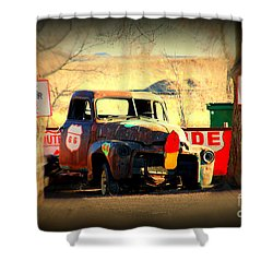 Route 66 Parking Lot Shower Curtain by Susanne Van Hulst
