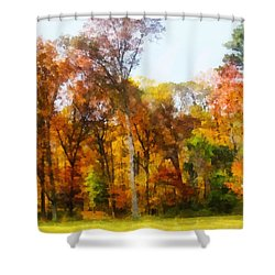 Row Of Autumn Trees Shower Curtain by Susan Savad