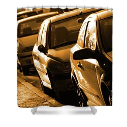 Row Of Cars Shower Curtain by Carlos Caetano