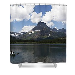 Rowboat At Many Glacier Shower Curtain
