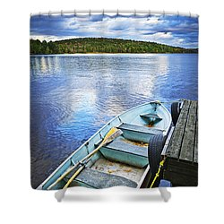 Rowboat Docked On Lake Shower Curtain by Elena Elisseeva