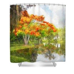 Royal Poinciana Lake Shower Curtain by Francesa Miller