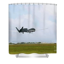 Rq-4 Global Hawks First Flight Shower Curtain by Photo Researchers