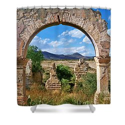 Shower Curtain featuring the photograph Ruins Of Mineral De Pozos by John  Kolenberg