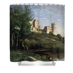 Ruins Of The Chateau De Pierrefonds Shower Curtain by Jean Baptiste Camille Corot