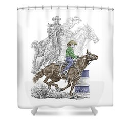 Shower Curtain featuring the drawing Running The Cloverleaf - Barrel Racing Print Color Tinted by Kelli Swan