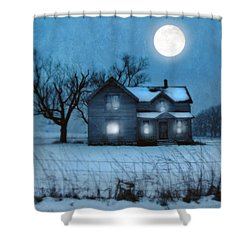 Rural Farmhouse Under Full Moon Shower Curtain by Jill Battaglia