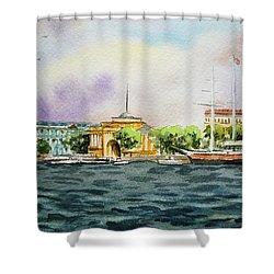 Russia Saint Petersburg Neva River Shower Curtain by Irina Sztukowski