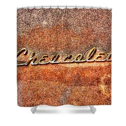 Rusted Antique Chevrolet Logo Shower Curtain by Dan Stone