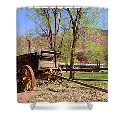 Rustic Wagon At Historic Lonely Dell Ranch - Arizona Shower Curtain by Gary Whitton