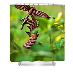 Rusty Dragonfly Shower Curtain by Christopher Holmes