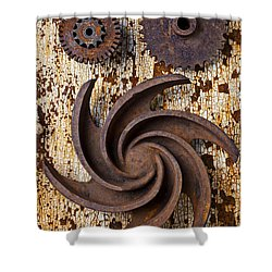 Rusty Gears Shower Curtain by Garry Gay