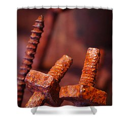 Rusty Screws Shower Curtain by Carlos Caetano