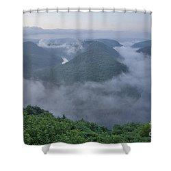 Saar Loop In The Morning Fog Shower Curtain by Heiko Koehrer-Wagner