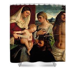 Sacra Conversatione With Ss Catherine Sebastian And Holy Family Shower Curtain by Sebastiano de Piombo