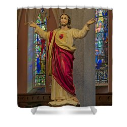 Sacred Heart Of Jesus Shower Curtain by Susan Candelario