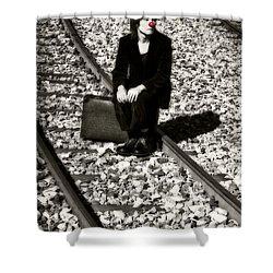 Sad Clown Shower Curtain by Joana Kruse