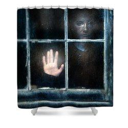Sad Person Looking Out Window Shower Curtain by Jill Battaglia