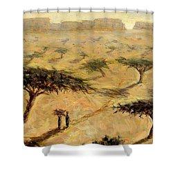 Sahelian Landscape Shower Curtain by Tilly Willis