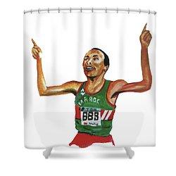 Said Aouita Shower Curtain by Emmanuel Baliyanga