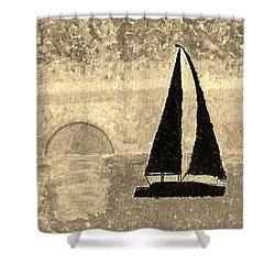 Sail In Sepia Sea Shower Curtain by Sonali Gangane