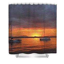 Sailboats At Anchor Shower Curtain by Anne Mott