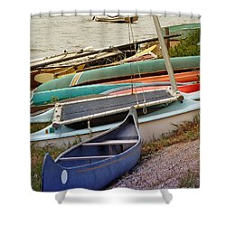 Sailboats Shower Curtain by Methune Hively
