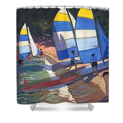 Sailboats South Of France Shower Curtain by Andrew Macara