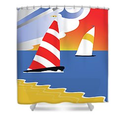 Sailing Before The Wind Shower Curtain