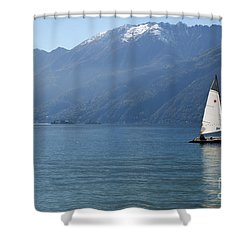 Sailing Boat And Mountain Shower Curtain by Mats Silvan